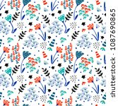trendy floral pattern in the... | Shutterstock .eps vector #1087690865