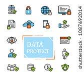 data protection icon design set | Shutterstock .eps vector #1087692014
