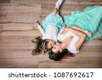 mother and daughter beautiful... | Shutterstock . vector #1087692617