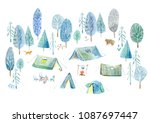 camping in the woods.tent ... | Shutterstock . vector #1087697447