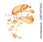 biscuit broken into two halves... | Shutterstock . vector #1087697654