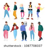 collection of people wearing... | Shutterstock . vector #1087708337