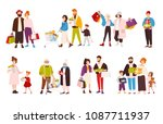 collection of happy people... | Shutterstock . vector #1087711937