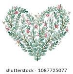 roses heart watercolor hand... | Shutterstock . vector #1087725077