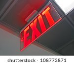 Exit sign inside of silver...