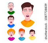 people horror faces vector... | Shutterstock .eps vector #1087728839