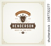 coffee shop label design... | Shutterstock .eps vector #1087732277