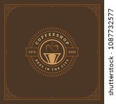 coffee shop label design... | Shutterstock .eps vector #1087732577