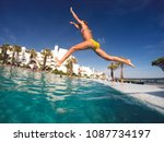 jump into the pool. summer... | Shutterstock . vector #1087734197