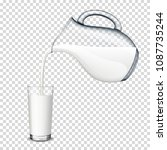 pouring milk from a transparent ... | Shutterstock .eps vector #1087735244