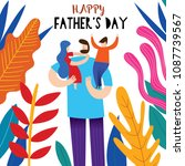 happy father's day greeting... | Shutterstock .eps vector #1087739567