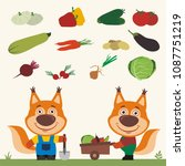 set of isolated vegetables ... | Shutterstock .eps vector #1087751219