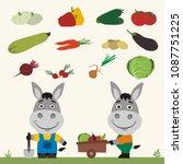 set of isolated vegetables ... | Shutterstock .eps vector #1087751225