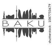 baku azerbaijan skyline vector... | Shutterstock .eps vector #1087753679