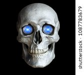 skull with glowing cyber eyes...   Shutterstock . vector #1087783679