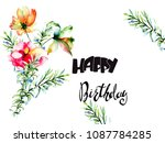 decorative summer flowers with... | Shutterstock . vector #1087784285