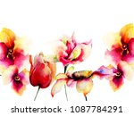 template for greeting card with ... | Shutterstock . vector #1087784291