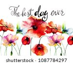 poppies flowers with title the...   Shutterstock . vector #1087784297