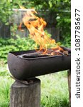 fire in the barbecue. old... | Shutterstock . vector #1087785677