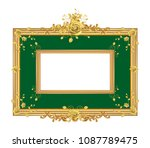 round photo frame  metal gold ... | Shutterstock .eps vector #1087789475