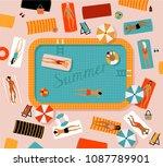 summer beach vector illustration | Shutterstock .eps vector #1087789901