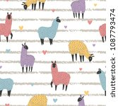 seamless pattern with cute... | Shutterstock .eps vector #1087793474