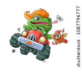 frog racer. a colored... | Shutterstock .eps vector #1087796777