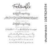 handdrawn vector alphabet.... | Shutterstock .eps vector #1087824554
