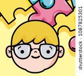 cute boy face cartoon   Shutterstock .eps vector #1087825301