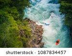 kayaking at futaleufu river ... | Shutterstock . vector #1087834457