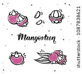 set of mangosteen in sketch... | Shutterstock .eps vector #1087838621