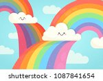 cloud with rainbow | Shutterstock .eps vector #1087841654