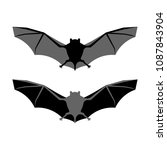 bat silhouette vector icon.... | Shutterstock .eps vector #1087843904
