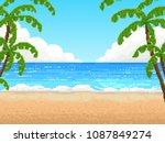 retro pixel 8 bit background.... | Shutterstock .eps vector #1087849274