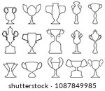black champion cup outline... | Shutterstock .eps vector #1087849985