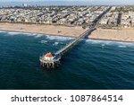 aerial of manhattan beach pier...