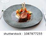modern french cuisine  roasted...   Shutterstock . vector #1087877255