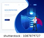 isometric database protection... | Shutterstock .eps vector #1087879727