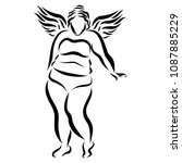 thick winged woman in lingerie | Shutterstock . vector #1087885229