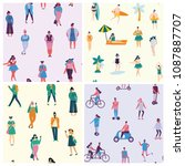 vector seamless patterns in... | Shutterstock .eps vector #1087887707