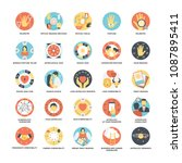 flat icon set of astrological  ... | Shutterstock .eps vector #1087895411