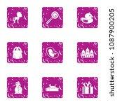 children beginning icons set.... | Shutterstock .eps vector #1087900205