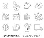dry cleaning  laundry and cloth ... | Shutterstock .eps vector #1087904414