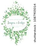 festive oval frame  wedding... | Shutterstock .eps vector #1087905014