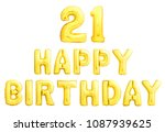 happy birthday 21 years golden... | Shutterstock . vector #1087939625