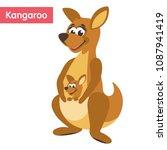 cute mom kangaroo and kangaroo...   Shutterstock .eps vector #1087941419