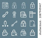 lock icon set   outline... | Shutterstock .eps vector #1087949447
