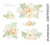 set of the floral arrangements. ... | Shutterstock .eps vector #1087950107
