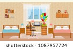 children bedroom interior with... | Shutterstock .eps vector #1087957724
