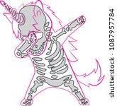 dabbing unicorn skeleton will... | Shutterstock .eps vector #1087957784